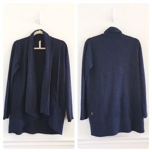 Lucy Tranquility Navy Wrap Draped Cardigan